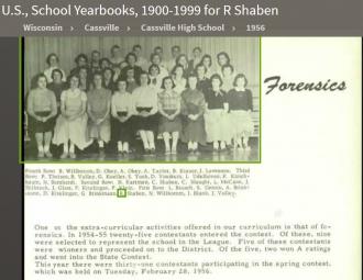 Ruth Ann Shaben--U.S., School Yearbooks, 1900-1999(1956) Forensics