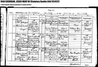 Jessie (Wilson) Reilly death certificate