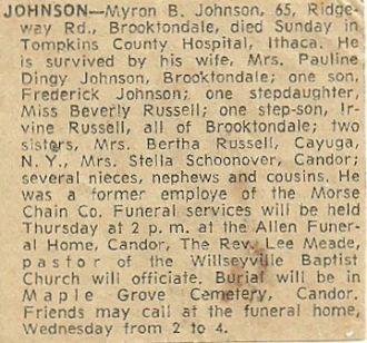 Myron Barber Johnson Obituary