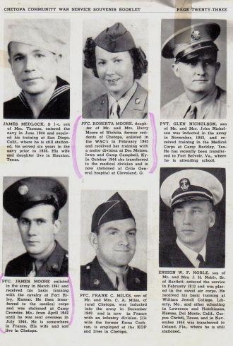 ted stafford's Army Book, Kansas M & N surnames