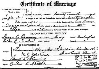 Constance Tasker & George Benning, 1929 marriage license