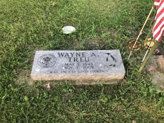 Wayne True's grave outside Sparta, WI