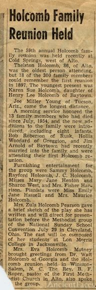 Holcomb Family Reunion Held