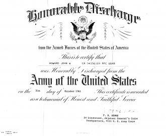 John W Howard Discharge Paper