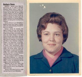 Barbara Owen Obituary