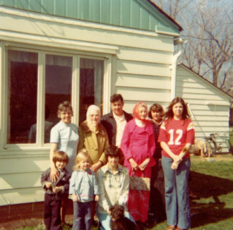 Norman's family taken in his backyard