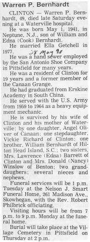 Obituary Warren P Bernhardt
