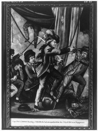 Capt. Paul Jones shooting a sailor who had attempted to...