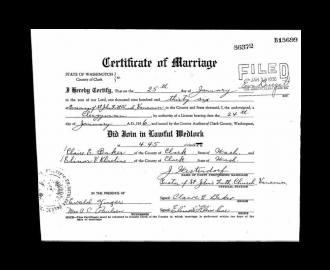Clair Baker and Elinor Klineline Marriage Certificate