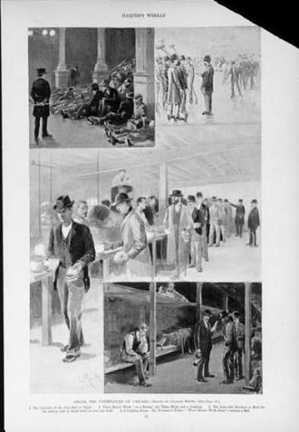 Among the unemployed of Chicago / drawn by Charles Mente.