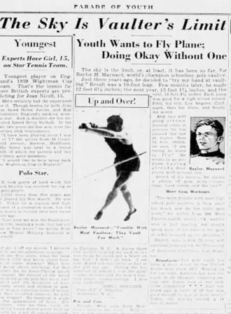 Baylor H. Maynard, Pole Vaulter, The Charlotte Observer, September 1938