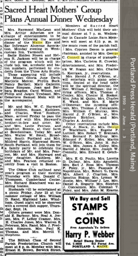 Louise Marie Hagen-Connell--Portland Press Herald (Portland, Maine) (3 jun 1950)