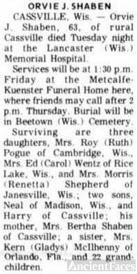 The Dubuque Telegraph Herald Obituary Of Orvie Shaben