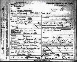 Sarah Moreland Death Record