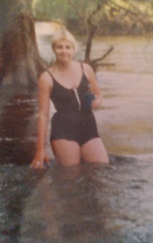 Elaine Lowery Zane at Guadalupe River camping with friend Jana Rieser Schaefer