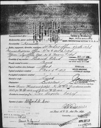Clifford G.Cox Military records