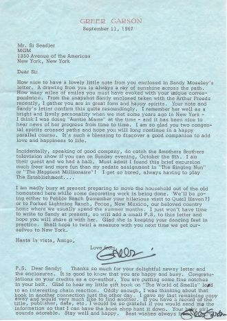 Greer Garson letter, 1967