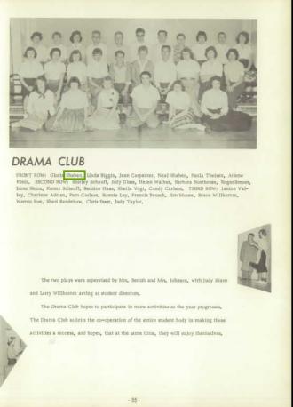 Neal Orvie Shaben--U.S., School Yearbooks, 1900-1999(1959)Drama club pg55