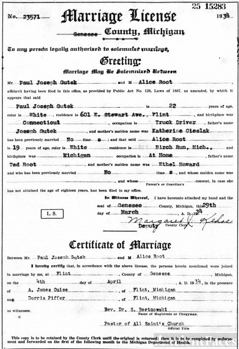 Paul and Alice (Root) Gutek Marriage License