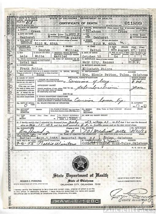 George William Patton death certificate