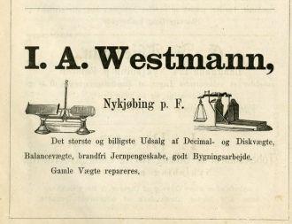 Johan August Westmann Ad 1878 Denmark