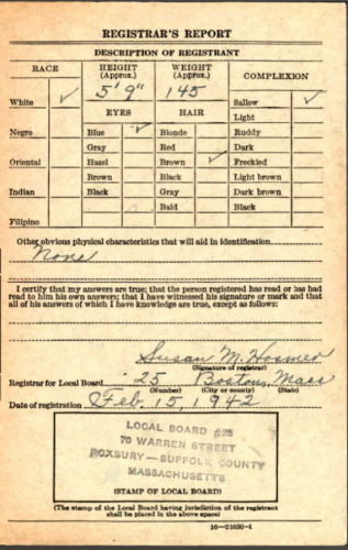 Joseph Henry Beecher--U.S., World War II Draft Cards Young Men, 1940-1947 back