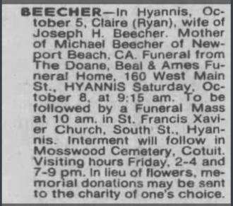 Claire Laurena Ryan-Beecher--The Boston Globe from Boston, Massachusetts Thursday, October 6, 1983 pg 79
