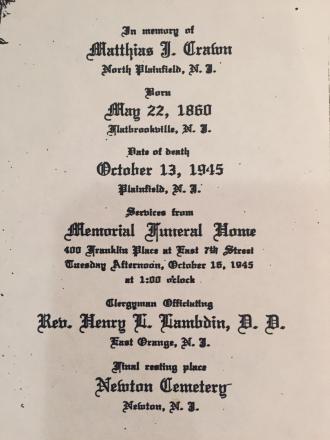 Matthias J. Crawn Funeral Card
