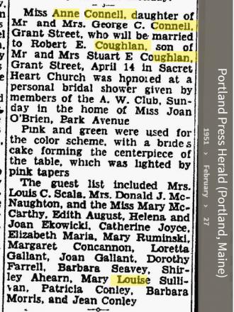 Anne Louise Connell-Coughlan--Portland Press Herald (Portland, Maine)(27 feb 1951)