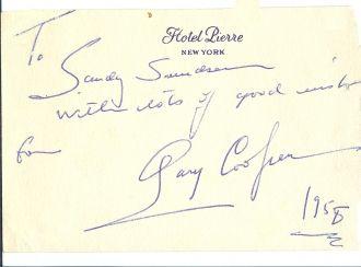 Gary Cooper autograph