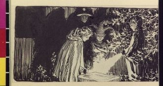 [Old woman, Puck, and children with flashlights looking...