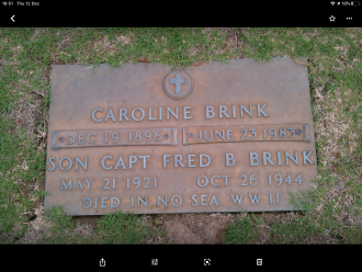 Caroline and Fred B Brink Jr. Gravesite