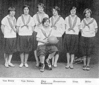 Helen Mathewson and 1926 Female Basketball Captains