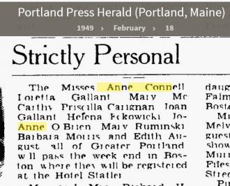 Anne Louise Connell-Coughlan--Portland Press Herald (Portland, Maine)(18 feb 1949)
