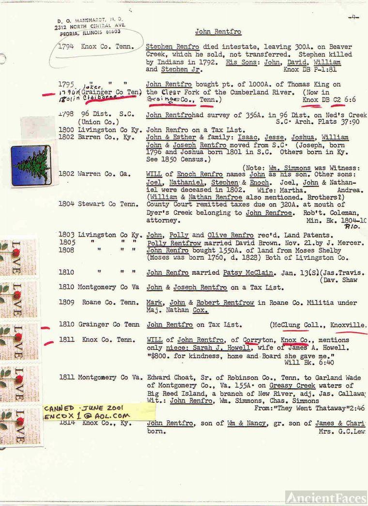 John Renfro records (5-10)- D. O. Manschardt, MD