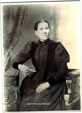 Agnes Knox ( nee McCord) b abt 1845 Ballymena Ireland