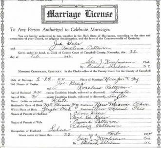 Joe M Dees Marriage License