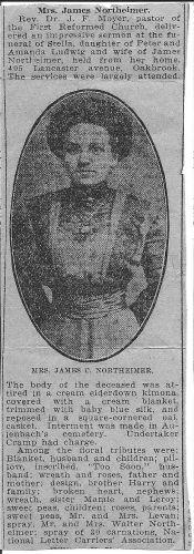 Obit of Stella B. Ludwig Northeimer