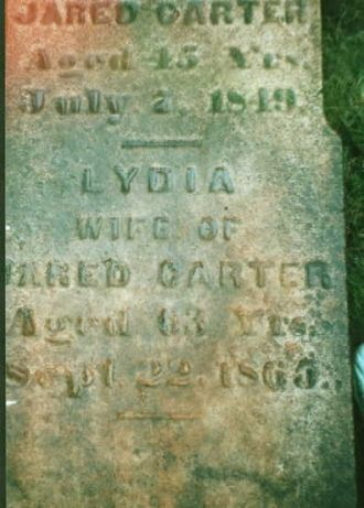 Jared Carter and Lydia Ames gravestone