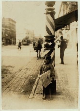 "A Little ""Shaver,"" Indianapolis Newsboy, 41 inches high...."
