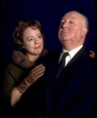 Patricia Hancock with Alfred Hitchcock.