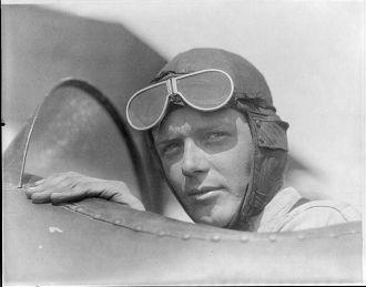 Charles Lindbergh, wearing helmet