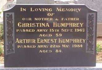 Arthur Humphrey and Christina Elsie Cook