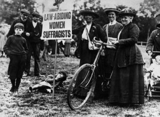 Suffragettes Cycling to a Meeting