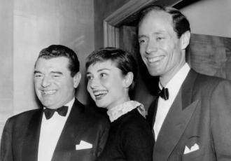 Jack Hawkins with Audrey Hepburn and Mel Ferrer.