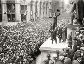 Douglas Fairbanks and Charlie Chaplin Wall Street New York 1918
