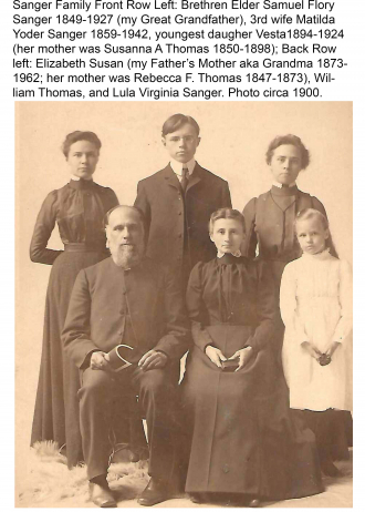 Samuel Flory Sanger Family, my Great Grandfather, my Dad's Mother, and his Aunts and Uncle Photo Circa 1900