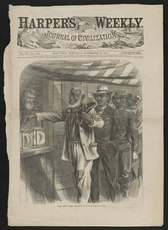 """""""The first vote"""" / AW ; drawn by A.R. Waud."""