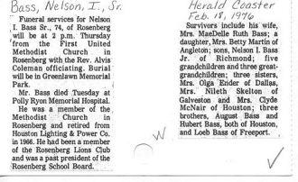 Obit of NELSON IVES BASS, SR.