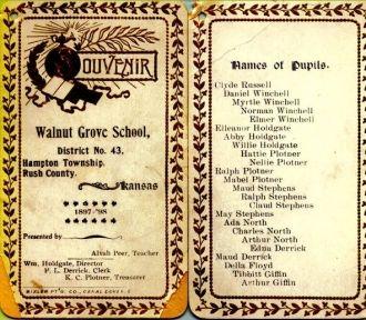 Walnut Grove School, Kansas 1897